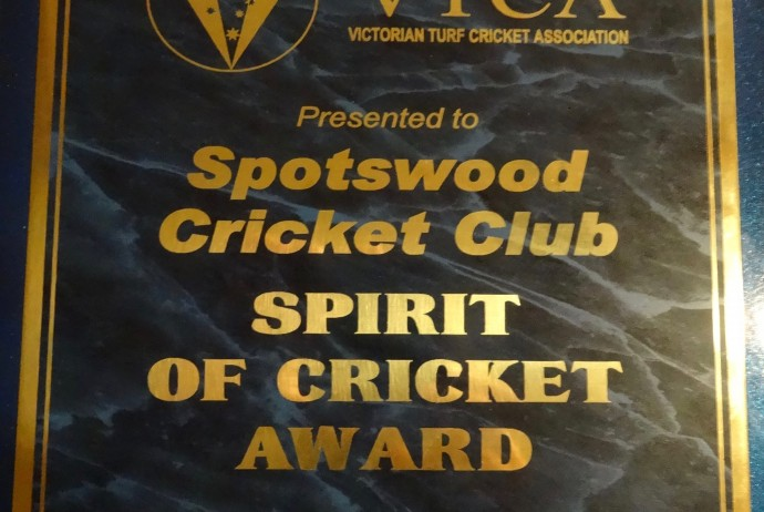 VTCA Spirit of Cricket Award