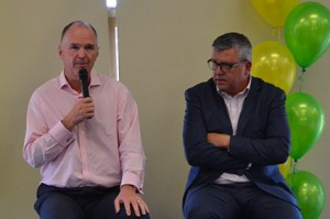 Mark Brayshaw, CEO of the AFL Coaches Association, with our MC Matt Campbell